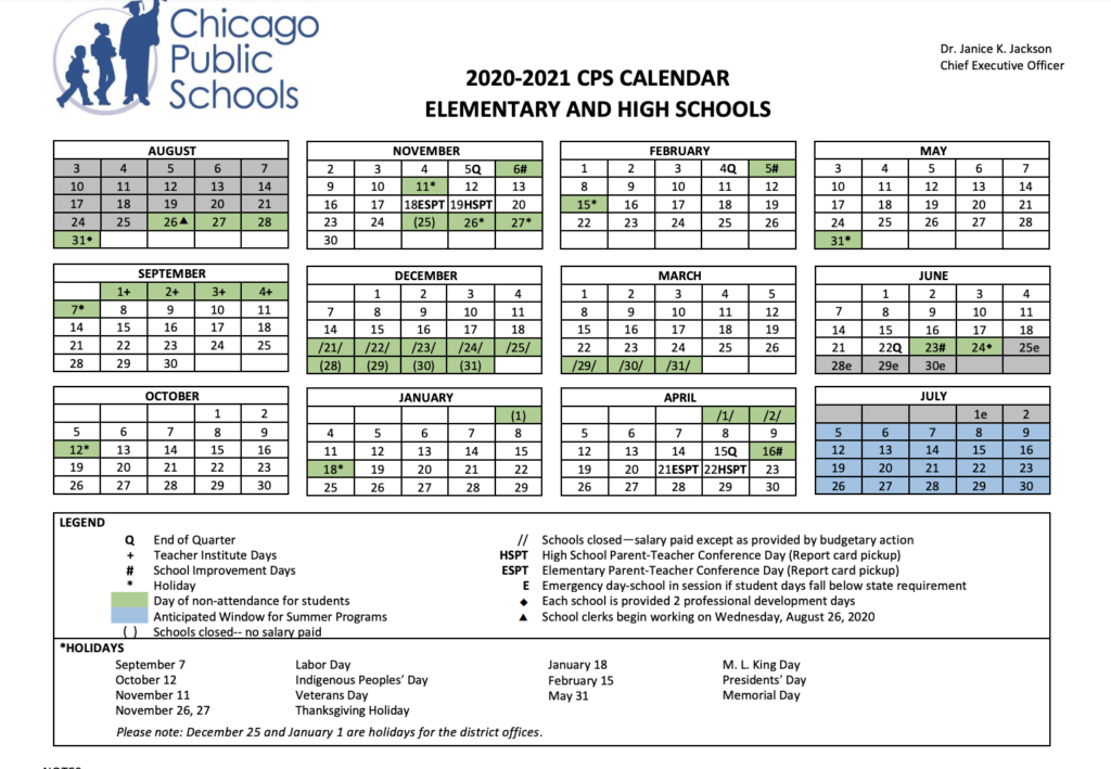 CPS 2020 2021 School Calendar   Chicago School Options
